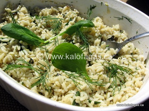 Spanakorizo is a classic Greek dish of rice, spinach and the ...