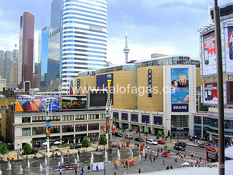 High atop of the corner of Yonge & Dundas, downtown Toronto