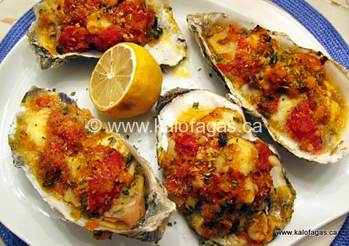 """Baked Oysters """"Emmy"""" With Tomatoes, Capers & Feta ..."""
