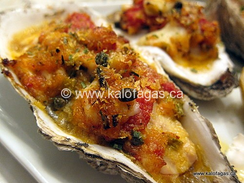 """Baked Oysters """"Emmy"""" With Tomatoes, Capers & Feta"""